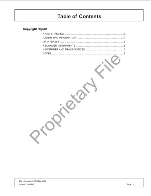 Cicada 3301 Copyright Research Report SONY Levine Lech CompuMark p.2