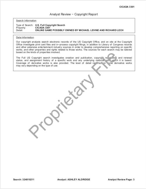 Cicada 3301 Copyright Research Report SONY Levine Lech CompuMark p.3