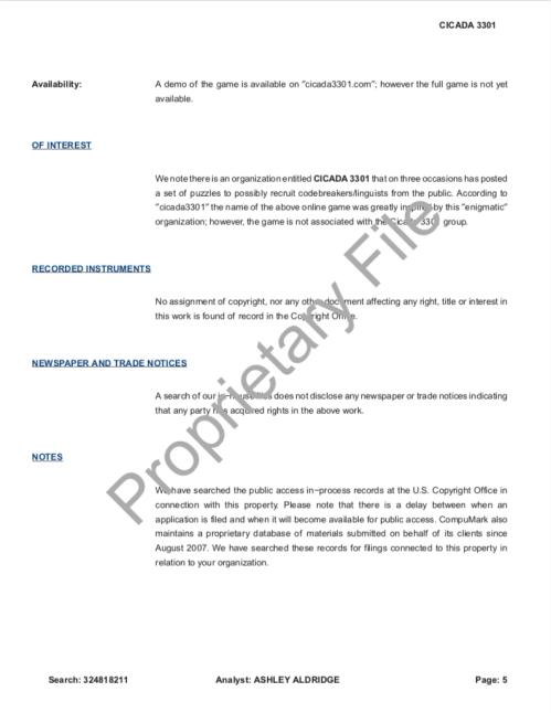 Cicada 3301 Copyright Research Report SONY Levine Lech CompuMark p.5