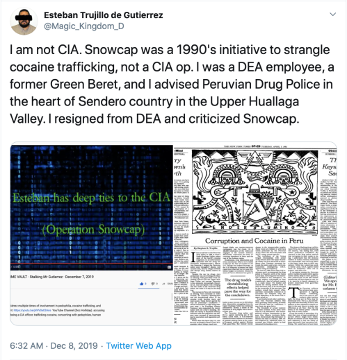 Dumbass TS v. Me Snowcap CIA DEA NYT McQuaid Video Link Unbecoming Time Vault Bump Ahead 2019-12-28