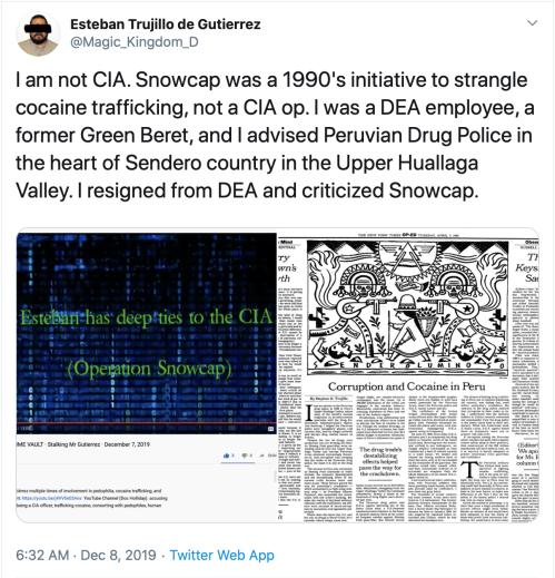 Dumbass TS v. Me Snowcap CIA DEA NYT McQuaid Video Link Unbecoming Time Vault Bump Ahead 2019-12-28