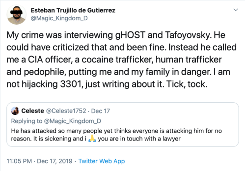 Me CIA Trafficker Pedophile Endangering Family Hijacking 3301 Tweet Dec 17 2019 2019-12-28