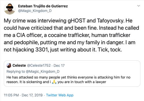 Me CIA Trafficker Pedophile Endangering Family Hijacking 3301 Tweet Dec 17 2019 2019-12-28