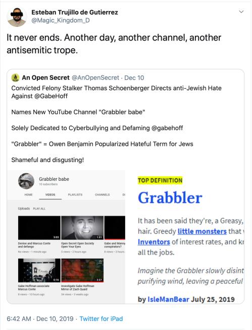 Me Gabe Hoffman TS Schoenberger AntiSemite Gabbler Babe YouTube Tweet 2019-12-28