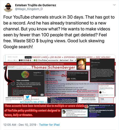 Me v. TS Schoenberger Tweet 4 YouTube Channels 30 Days Struck Pointless 2019-12-28
