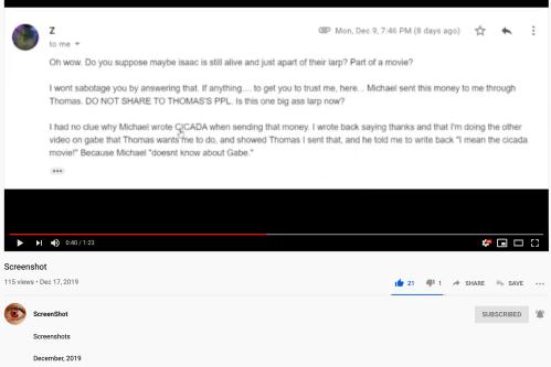 ScreenShot Video Zack McQuaid Michael Levine Sent $ Thomas Conspiracy Gabe Hoffman for Cicada Movie Dec 17 2019