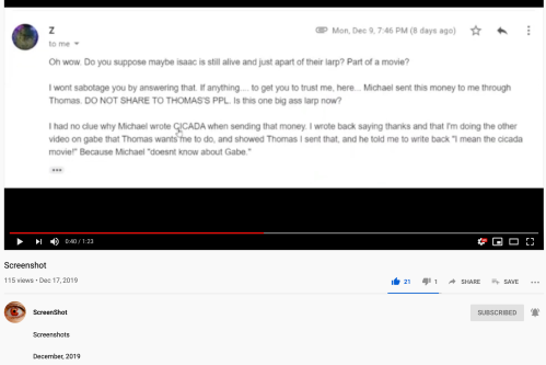 ScreenShot Video Zack McQuaid Michael Levine Sent $ Thomas Conspiracy Gabe Hoffman for Cicada Movie Dec 17 2019