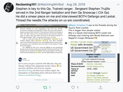 Thomas Schoenberger Tweet I am Key to an op? Smear Piece? Interviews Defango & Lestat? Coordinated? So What? Idiot 2020-01-05