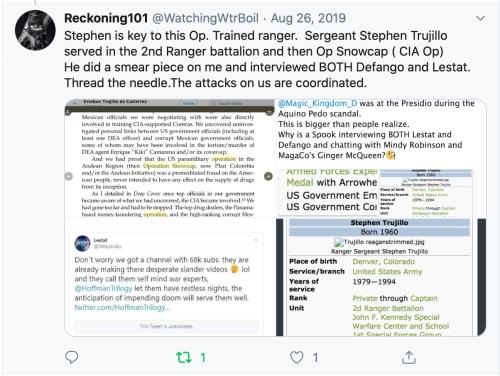 Thomas Schoenberger Tweet I am Key to an op? Smear Piece? Interviews Defango & Lestat? Coordinated? So What? Idiot 2020-01-05