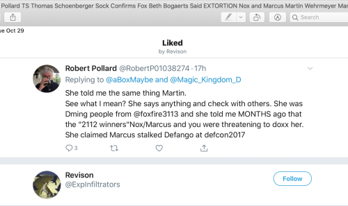 TS Thomas Schoenberger Beth Bogaerts Extortion Nox Marcus Box Oct 29 2019 Revision Sock Account