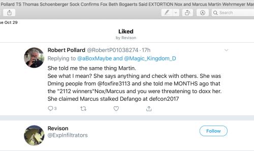 TS Thomas Schoenberger Beth Bogaerts Extortion Nox Marcus Box Oct 29 2019 Revision Sock Account