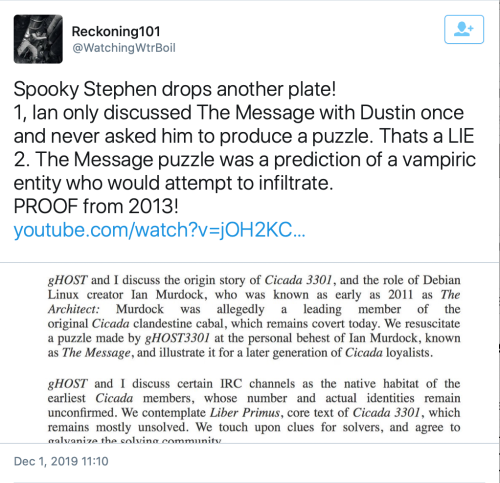 TS Thomas Schoenberger Ian Murdock Dustin gHOST3301 The Message Vampiric Entity Dec 1 2019