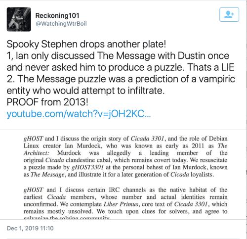 TS Thomas Schoenberger Ian Murdock Dustin gHOST3301 The Message Vampiric Entity Dec 1 2019