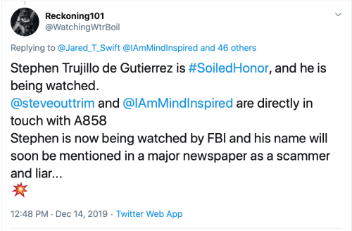 TS Tweet I Am Watched by FBI and Will Be in a Major Newspaper Dec 14 2019