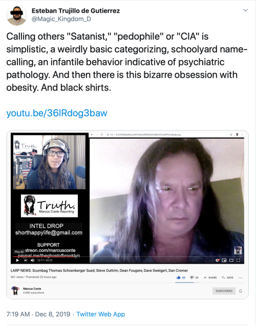 TS v. Me Infantile Name Calling Obesity Satanism Pedophile CIA Simplistic Categorizing 2019-12-28