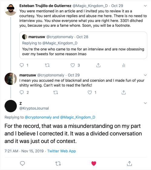 Z3301 Misunderstanding on my part, Tweet to Marcus Wanner and Me Nov 15 2019