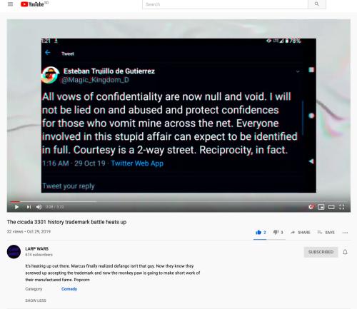 LARP Wars, The cicada 3301 history trademark battle heats up, YouTube, October 29 2019