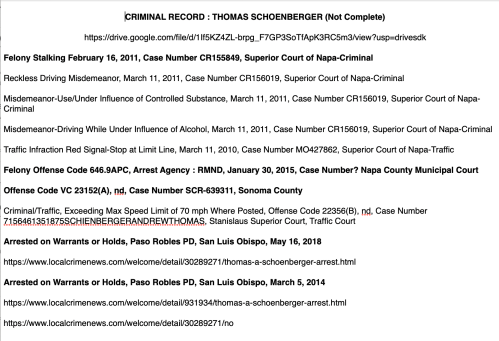 Thomas Schoenberger Criminal Record (Incomplete)